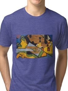 Juan Gris - Still Life With A Guitar. Abstract painting: abstract art, geometric,  Guitar, composition, lines, forms, creative fusion, spot, shape, illusion, fantasy future Tri-blend T-Shirt