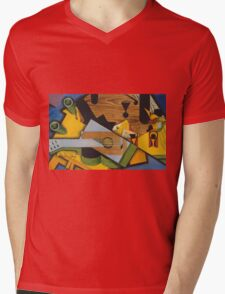Juan Gris - Still Life With A Guitar. Abstract painting: abstract art, geometric,  Guitar, composition, lines, forms, creative fusion, spot, shape, illusion, fantasy future Mens V-Neck T-Shirt