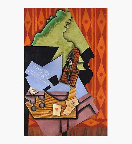 Juan Gris - Violin And Playing Cards On A Table. Abstract painting: abstract art, geometric, Table, Cards, lines, forms, creative fusion, spot, shape, illusion, fantasy future Photographic Print