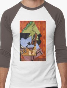 Juan Gris - Violin And Playing Cards On A Table. Abstract painting: abstract art, geometric, Table, Cards, lines, forms, creative fusion, spot, shape, illusion, fantasy future Men's Baseball ¾ T-Shirt