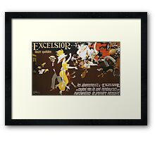 Jules Alexander Grun - Excelsior Poster. People portrait: party, woman and man, people, family, female and male, peasants, crowd, romance, women and men, city, home society Framed Print
