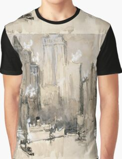 Joseph Pennell - Fruit Boat, Or New York City From Our Brooklyn Flat. Urban landscape:  New York view, streets, building,  New York, trees, cityscape, architecture, construction, buildings Graphic T-Shirt
