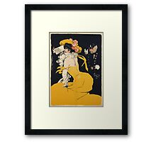 Jules Alexander Grun - Poster Of A Woman In A Yellow Dress. Woman portrait: sensual woman, girly art, female style, pretty women, femine, beautiful dress, cute, love, sexy lady, erotic pose Framed Print