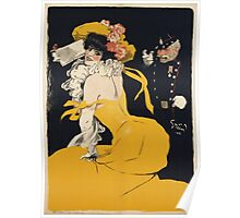 Jules Alexander Grun - Poster Of A Woman In A Yellow Dress. Woman portrait: sensual woman, girly art, female style, pretty women, femine, beautiful dress, cute, love, sexy lady, erotic pose Poster