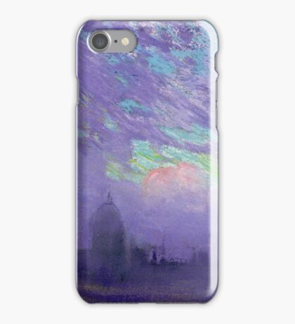 Joseph Pennell - Green, Blue And Purple (London View). Urban landscape: city view, streets, building, View Of London, trees, cityscape, architecture, construction, travel, panorama garden, buildings iPhone Case/Skin