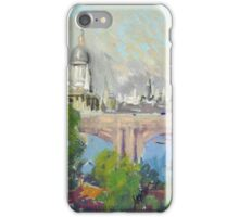 Joseph Pennell - London Over Waterloo Bridge. Urban landscape: city view, streets, building, London, trees, cityscape, architecture, construction, travel landmarks, panorama garden, buildings iPhone Case/Skin