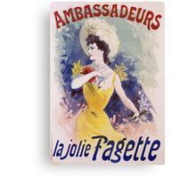 Jules Cheret - Ambassadeurs La Jolie Fagette Poster. Dancer painting: dance, ballet, dancing woman, ballerina, tutu, femine, women, dancer, disco, dancers, girls Canvas Print