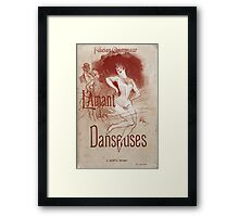 Jules Cheret - Cover For L Amant Des Danseuses (Lover Of Dancers). Dancer painting: dance, ballet, dancing woman, ballerina, tutu, femine, women, dancer, disco, dancers, girls Framed Print