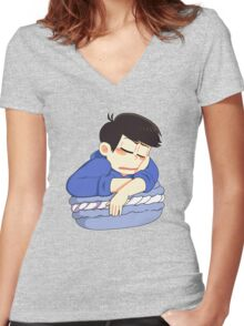 Slepping Karamatsu macaron Women's Fitted V-Neck T-Shirt
