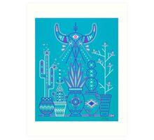 Santa Fe Garden – Blue & Purple Art Print
