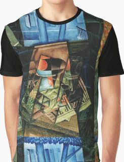 Juan Gris - Still Life Before An Open Window, Place Ravignan. Abstract painting: art, geometric, expressionism, composition, lines, forms, creative fusion, spot, shape, illusion, fantasy future Graphic T-Shirt