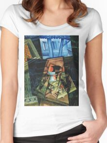 Juan Gris - Still Life Before An Open Window, Place Ravignan. Abstract painting: art, geometric, expressionism, composition, lines, forms, creative fusion, spot, shape, illusion, fantasy future Women's Fitted Scoop T-Shirt