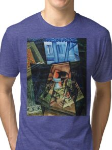 Juan Gris - Still Life Before An Open Window, Place Ravignan. Abstract painting: art, geometric, expressionism, composition, lines, forms, creative fusion, spot, shape, illusion, fantasy future Tri-blend T-Shirt