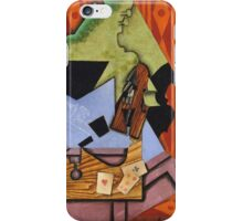 Juan Gris - Violin And Playing Cards On A Table. Abstract painting: abstract art, geometric, Table, Cards, lines, forms, creative fusion, spot, shape, illusion, fantasy future iPhone Case/Skin