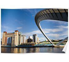 The tilting Millennium Bridge in Newcastle upon Tyne Poster