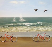 Two red bicycles at the coast by PhyllisGAndrews