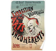 Jules Cheret - Poster For Exposition Universelle Des Arts Incoherents . Man portrait: strong man, boy, male, beard, business suite, masculine, boyfriend, smile, manly, sexy men, mustache Poster