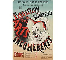 Jules Cheret - Poster For Exposition Universelle Des Arts Incoherents . Man portrait: strong man, boy, male, beard, business suite, masculine, boyfriend, smile, manly, sexy men, mustache Photographic Print