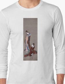 Katsushika Hokusai - Two Beauties. Woman portrait: lady, woman , beautiful dress, female style, courtesan, hairstyle,  kimono, romance,  traditional dress, femine, home society Long Sleeve T-Shirt