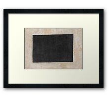 Kazimir Malevich - Black Quadrilateral. Abstract painting: abstract art, geometric, expressionism, composition, lines, forms, creative fusion, spot, shape, illusion, fantasy future Framed Print