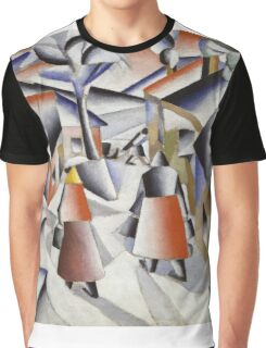 Kazimir Malevich - Morning In The Village After Snowstorm. Abstract painting: abstract art, winter, village, snowstorm, lines, forms, creative fusion, spot, shape, illusion, fantasy future Graphic T-Shirt
