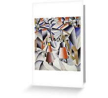 Kazimir Malevich - Morning In The Village After Snowstorm. Abstract painting: abstract art, winter, village, snowstorm, lines, forms, creative fusion, spot, shape, illusion, fantasy future Greeting Card