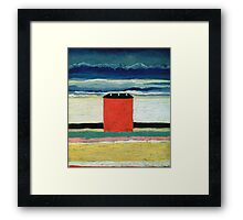 Kazimir Malevich - Red House. Abstract painting:  beach, building, sea,  house, horizon,  water, creative fusion, spot, shape, illusion, fantasy future Framed Print