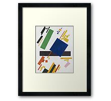 Kazimir Malevich - Suprematist Composition. Abstract painting: abstract art, geometric, expressionism, composition, lines, forms, creative fusion, spot, shape, illusion, fantasy future Framed Print