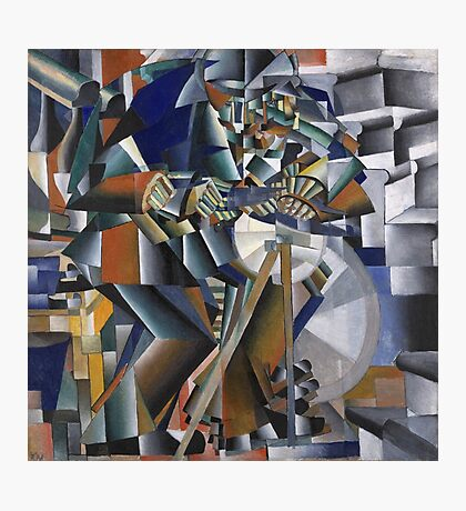 Kazimir Malevich - The Knife Grinder Or Principle Of Glittering. Abstract painting: art, geometric, expressionism, composition, lines, forms, creative fusion, spot, shape, illusion, fantasy future Photographic Print