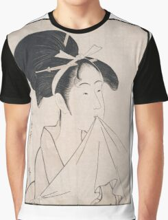 Kitagawa Utamaro - A Bust Portrait Of Okita Of The Naniwaya. Woman portrait: sensual woman, geisha, female style, traditional dress, femine, beautiful dress, headdress,  courtesans, sexy lady Graphic T-Shirt