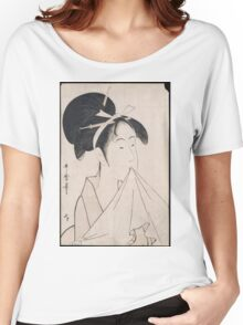 Kitagawa Utamaro - A Bust Portrait Of Okita Of The Naniwaya. Woman portrait: sensual woman, geisha, female style, traditional dress, femine, beautiful dress, headdress,  courtesans, sexy lady Women's Relaxed Fit T-Shirt