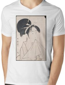 Kitagawa Utamaro - A Bust Portrait Of Okita Of The Naniwaya. Woman portrait: sensual woman, geisha, female style, traditional dress, femine, beautiful dress, headdress,  courtesans, sexy lady Mens V-Neck T-Shirt