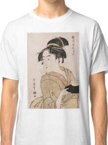 Kitagawa Utamaro - A Bust Portrait Of The Waitress Okita Of The Naniwaya Teahouse. Woman portrait: sensual woman, geisha, female style, femine, headdress,  hairstyle, courtesans Classic T-Shirt