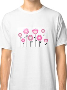 Stylized abstract pink and black flowers. Vector Classic T-Shirt
