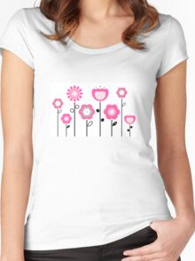 Stylized abstract pink and black flowers. Vector Women's Fitted Scoop T-Shirt