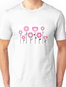 Stylized abstract pink and black flowers. Vector Unisex T-Shirt