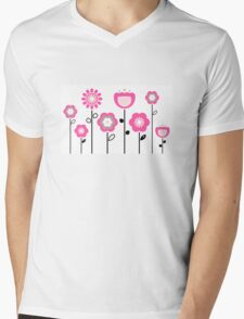 Stylized abstract pink and black flowers. Vector Mens V-Neck T-Shirt