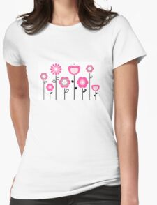 Stylized abstract pink and black flowers. Vector Womens Fitted T-Shirt