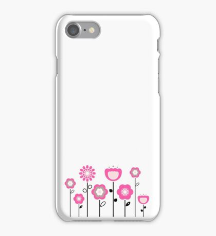 Stylized abstract pink and black flowers. Vector iPhone Case/Skin