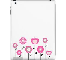 Stylized abstract pink and black flowers. Vector iPad Case/Skin