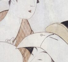 Kitagawa Utamaro - Bust Portrait Of Two Women, One Holding A Fan, The Other With A Head Cover Holding A Tea Cup. Woman portrait: sensual woman, geisha, female style, pretty women, femine, love Sticker