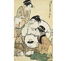 Kitagawa Utamaro - Daidozan Bungoro, The Infant Prodigy Drinking Sake. People portrait: party, woman and man,  Samurai, geisha , female and male,  women and men, people, beautiful dress Photographic Print