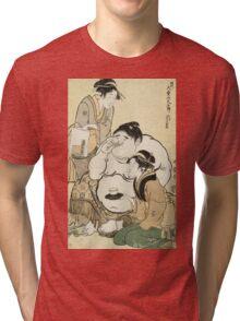 Kitagawa Utamaro - Daidozan Bungoro, The Infant Prodigy Drinking Sake. People portrait: party, woman and man,  Samurai, geisha , female and male,  women and men, people, beautiful dress Tri-blend T-Shirt