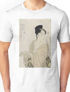Kitagawa Utamaro - Flirtatious Lover. Woman portrait: sensual woman, geisha, female style, pretty women, femine, beautiful dress, cute, headdress, love, sexy lady Unisex T-Shirt