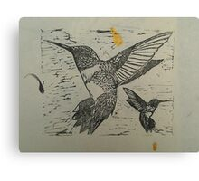 Pretty black ink hummingbirds on petal paper Canvas Print