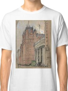 Joseph Pennell - Waldorf Astoria Hotel. Urban landscape: city view, streets, building, house, trees, cityscape, architecture, construction, travel landmarks, panorama garden, buildings Classic T-Shirt