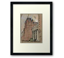 Joseph Pennell - Waldorf Astoria Hotel. Urban landscape: city view, streets, building, house, trees, cityscape, architecture, construction, travel landmarks, panorama garden, buildings Framed Print