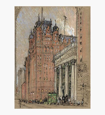 Joseph Pennell - Waldorf Astoria Hotel. Urban landscape: city view, streets, building, house, trees, cityscape, architecture, construction, travel landmarks, panorama garden, buildings Photographic Print
