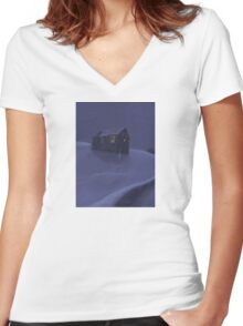 Snowy Barn Women's Fitted V-Neck T-Shirt