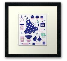 Retro set for baking or cooking. Vector Illustration Framed Print